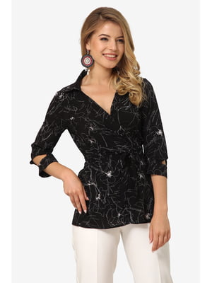 Блуза чорна з квітковим принтом | 5627050