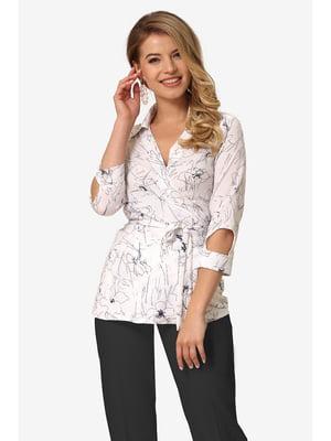 Блуза біла з квітковим принтом | 5627051
