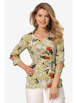 Блуза оливкового цвета с цветочным принтом | 5627054