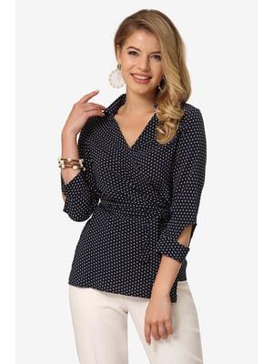Блуза темно-синя в горох | 5627058
