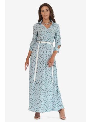 Платье светло-бирюзовое с принтом | 5627064