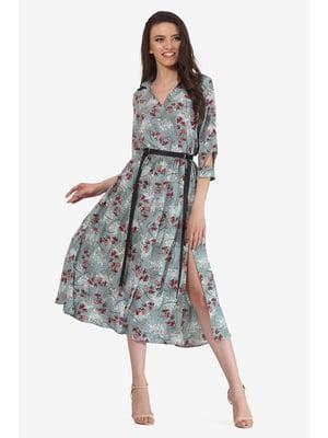 Платье мятного цвета с цветочным принтом | 5627068