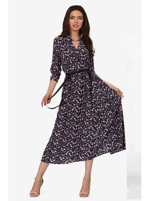 Сукня темно-синя з квітковим принтом | 5627073