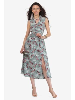 Платье мятного цвета с цветочным принтом | 5627077