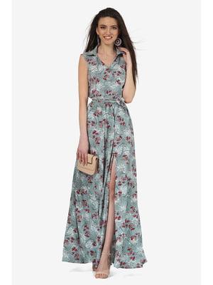 Платье мятного цвета с цветочным принтом | 5627078