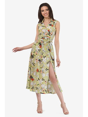 Платье оливкового цвета с цветочным принтом | 5627079