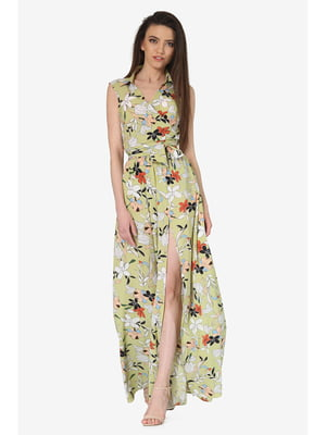 Платье оливкового цвета с цветочным принтом | 5627080