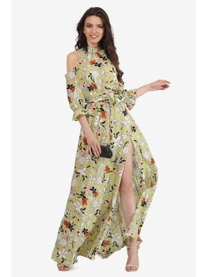Сукня оливкового кольору з квітковим принтом | 5627099