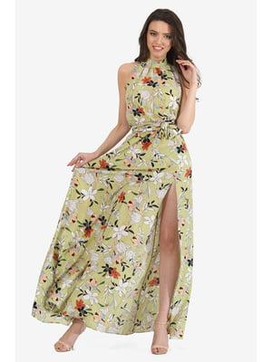 Платье оливкового цвета с цветочным принтом | 5627109