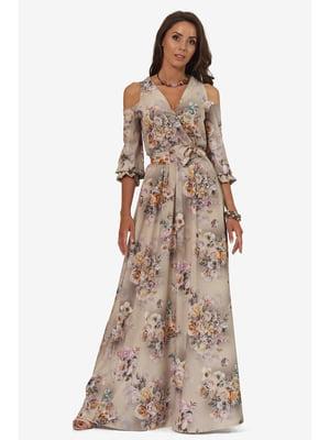 Платье бежевое с цветочным принтом | 5627112