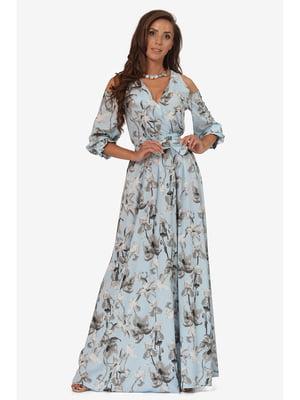 Сукня блакитна з квітковим принтом | 5627113