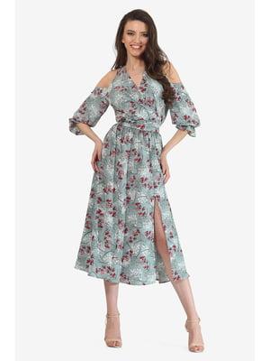 Платье мятного цвета с цветочным принтом | 5627119