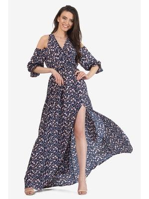 Платье темно-синее с цветочным принтом | 5627126
