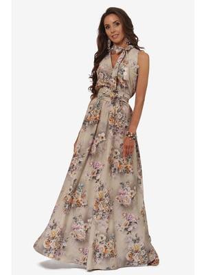 Сукня бежева з квітковим принтом | 5627158