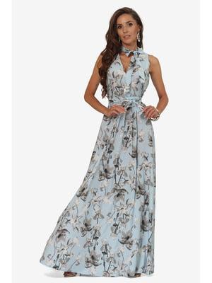 Сукня блакитна з квітковим принтом | 5627159