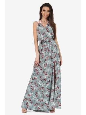 Сарафан мятного цвета с цветочным принтом   5627182