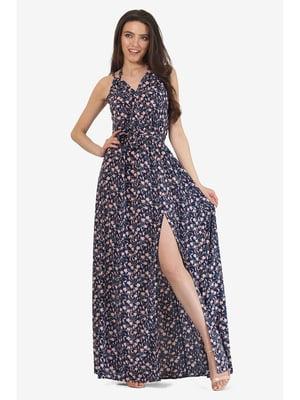 Сарафан темно-синий с цветочным принтом | 5627187