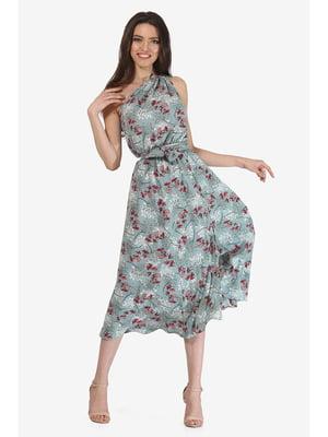 Платье мятного цвета с цветочным принтом | 5627194