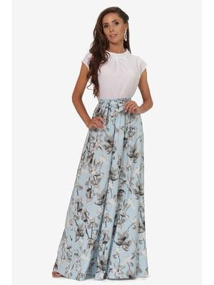 Спідниця блакитна з квітковим принтом | 5627204