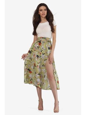 Спідниця оливкового кольору з квітковим принтом | 5627213