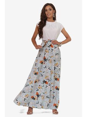 Спідниця блакитна з квітковим принтом | 5627219