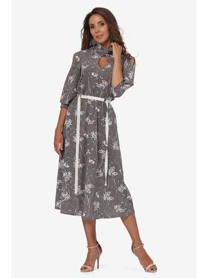 Сукня сіра з квітковим принтом | 5627224