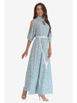 Платье светло-бирюзовое с принтом | 5627228