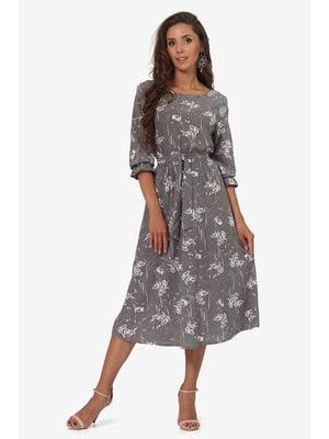 Сукня сіра з квітковим принтом | 5627234
