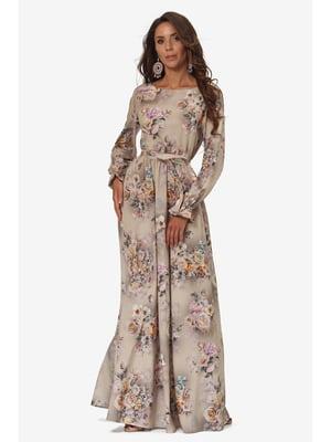 Платье бежевое с цветочным принтом | 5627235