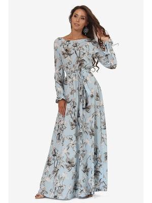 Сукня світло-блакитна з квітковим принтом | 5627236