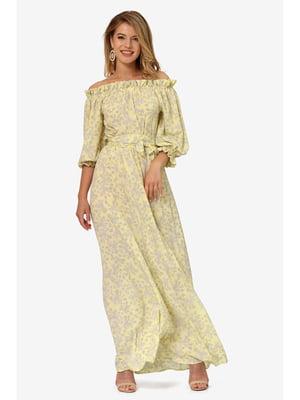 Сукня жовта з квітковим принтом | 5627238
