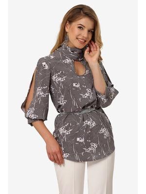 Блуза сіра з квітковим принтом | 5627239