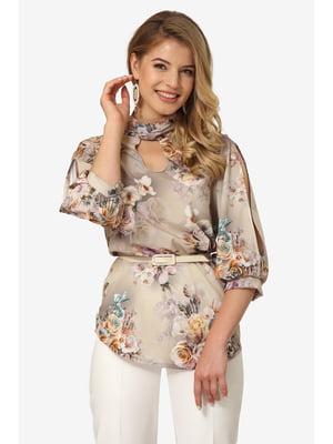 Блуза бежевая с цветочным принтом | 5627240