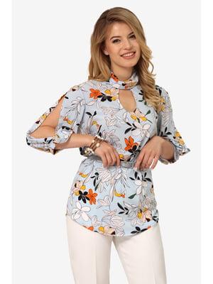 Блуза блакитна з квітковим принтом | 5627244