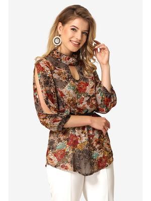 Блуза кавового кольору з квітковим принтом | 5627245