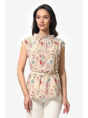 Блуза бежевая с цветочным принтом   5627261