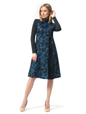 Платье черно-бирюзовое с цветочным принтом | 5627276
