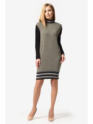 Платье черно-оливкового цвета | 5627320