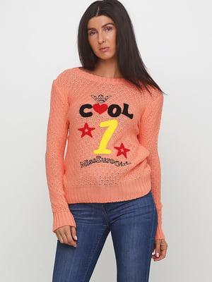 Джемпер коралового кольору з малюнком | 5628482