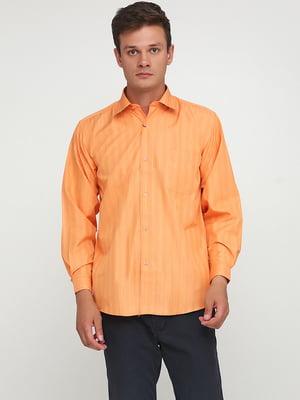 Рубашка морковного цвета в полоску | 5628504
