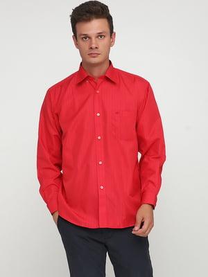 Сорочка червоного кольору в однотонну смужку | 5628505