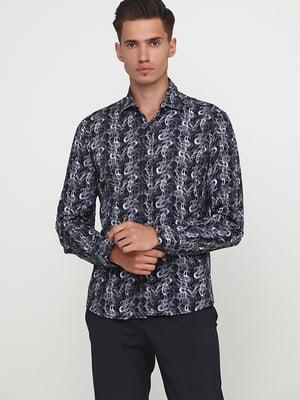 Рубашка черная с принтом | 5628519