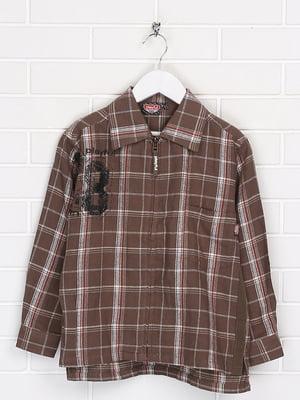 Сорочка коричневого кольору в клітинку і принт | 5628611