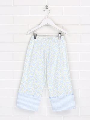 Штани піжамні блакитного кольору в квітковий принт і в смужку | 5628621