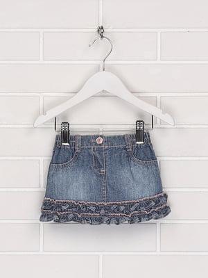 Спідниця джинсова синя з декором | 5628655