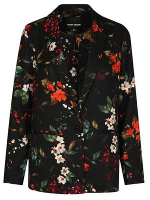 Жакет черный в цветочный принт | 4916214