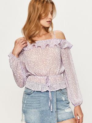 Блуза бузкового кольору у принт | 5541864