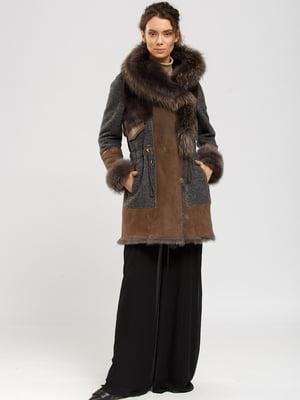 Куртка-дубленка коричнево-серая | 5629514