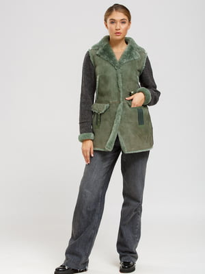 Куртка-дубленка серо-зеленая | 5629520