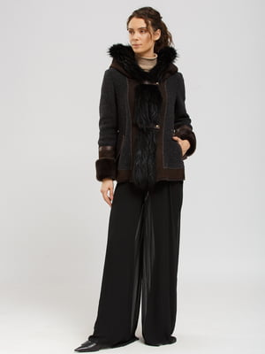 Куртка-дубленка коричнево-серая | 5629529